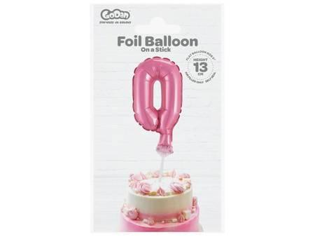 """Balon foliowy 13 cm na patyczku """"Cyfra 0"""", różowa BC-5RO0"""