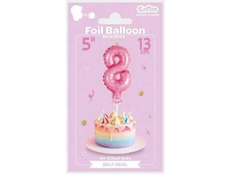 """Balon foliowy 13 cm na patyczku """"Cyfra 8"""", różowa BC-5RO8"""