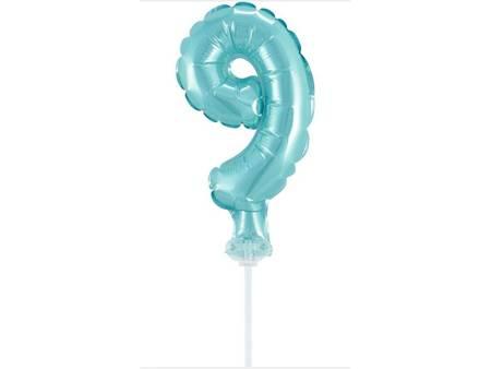 """Balon foliowy 13 cm na patyczku """"Cyfra 9"""", błękitna BC-5BL9"""
