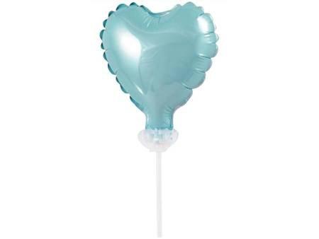 Balon foliowy 8 cm serce na patyczku, błękitne BS-4BL