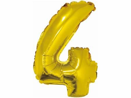 """Balon foliowy """"Cyfra 4"""", złota, 35 cm FG-C35Z4"""