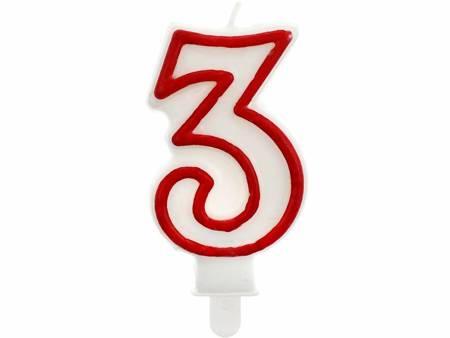 """Świeczka cyferka """"3"""", czerwony kontur 7 cm PF-SCC/3"""