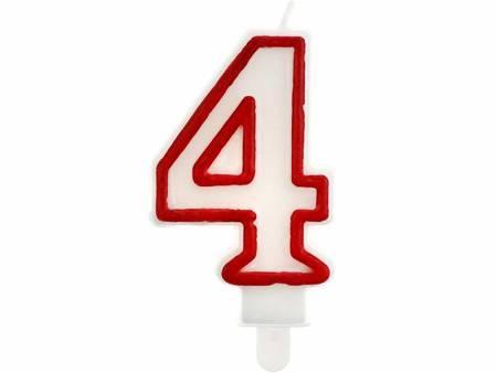 """Świeczka cyferka """"4"""", czerwony kontur 7 cm PF-SCC/4"""